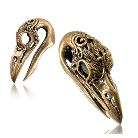 Rose Brass Carved Crow Skull Hangers