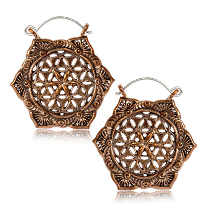 Rose Brass Flower Of Life Earrings