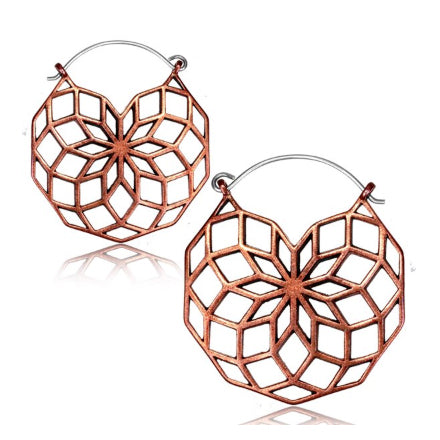Rose Brass Geometric Earrings