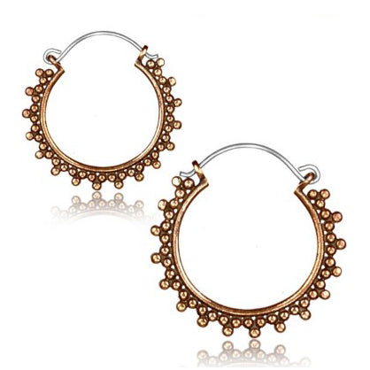 Rose Brass Mini Bali Dot Hoop Earrings