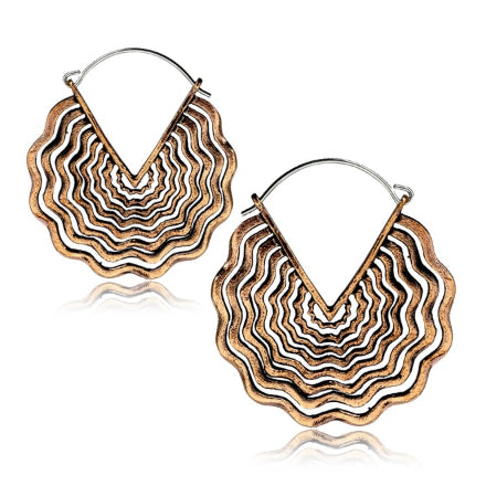 Rose Brass Soundwave Earrings