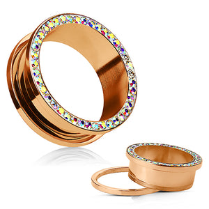 Rose Gold Plated Aurora CZ Screw-On Tunnels