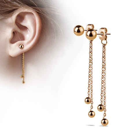 Rose Gold Plated Ball Chain Stud Earrings