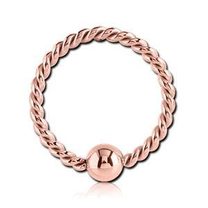 Rose Gold Plated Braided Fixed Bead Ring