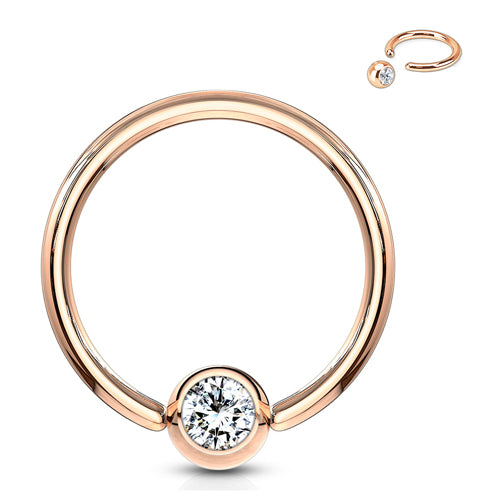 Rose Gold Plated CZ Captive Bead Ring