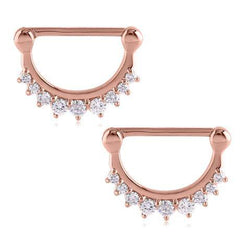 Rose Gold Plated CZ Crown Nipple Clickers