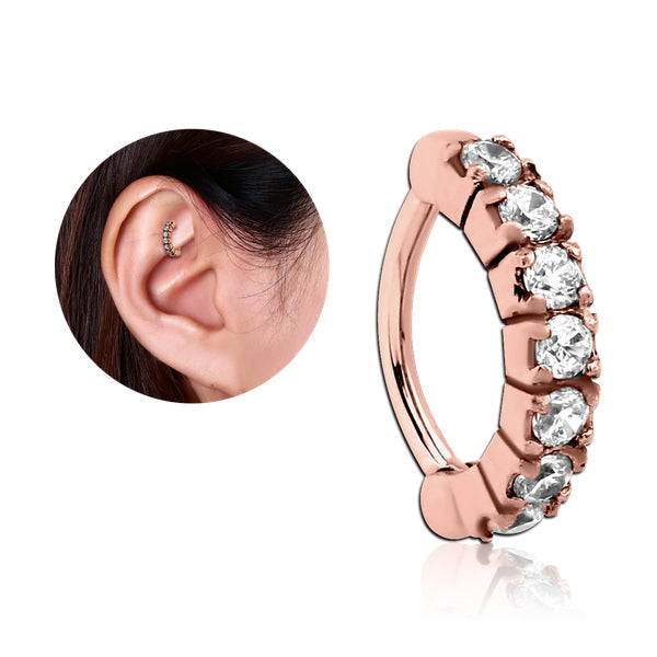 Rose Gold Plated CZ Paved Cartilage Clicker