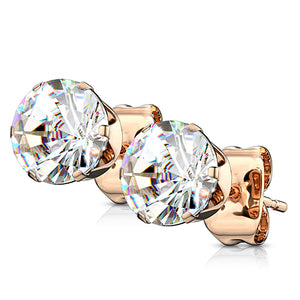 Rose Gold Plated CZ Studs
