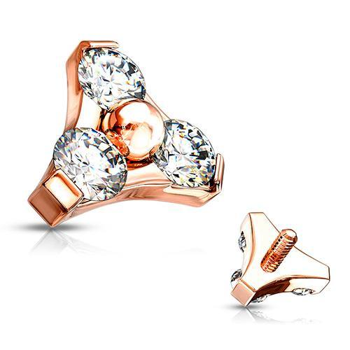 16g Rose Gold Plated CZ Trinity
