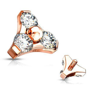14g Rose Gold Plated CZ Trinity