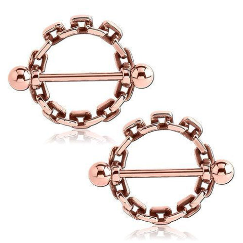 Rose Gold Plated Chain Link Nipple Shields