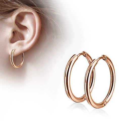 Rose Gold Plated Clicker Hoop Earrings