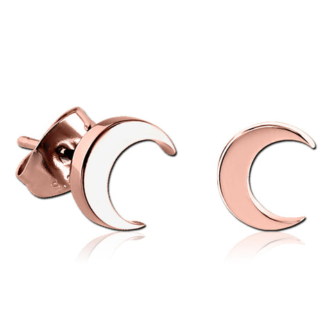 Rose Gold Plated Crescent Moon Earrings