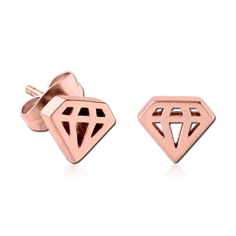 Rose Gold Plated Cutout Diamond Earrings