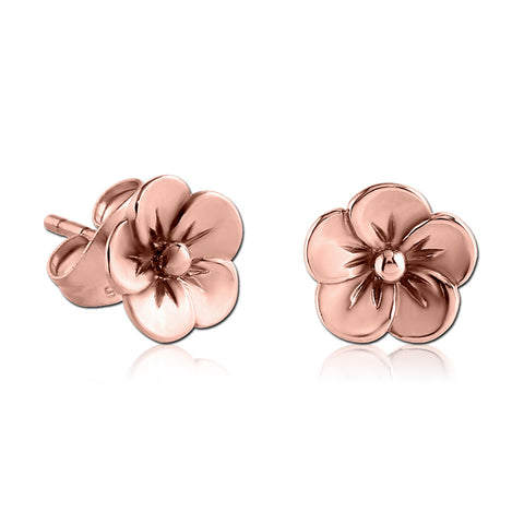 Rose Gold Plated Flower Earrings