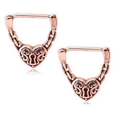 Rose Gold Plated Heart Lock Nipple Clickers