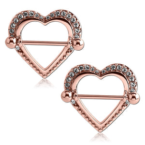 Rose Gold Plated Paved Heart Nipple Shields