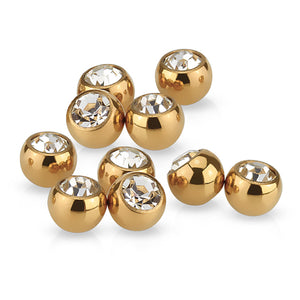 16g Rose Gold Plated Gem Balls (2-Pack)