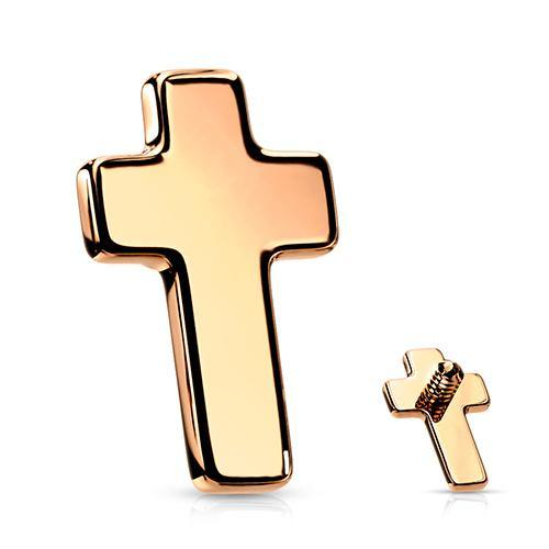 14g Rose Gold Plated Cross