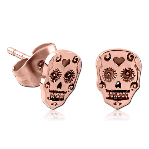 Rose Gold Plated Sugar Skull Earrings