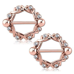 Rose Gold Plated Woven CZ Nipple Shields