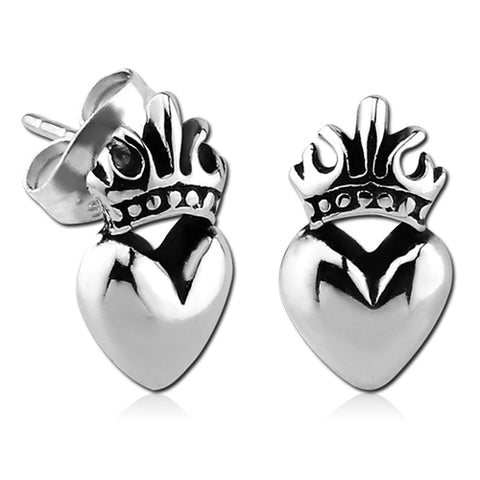 Stainless Sacred Heart Earrings