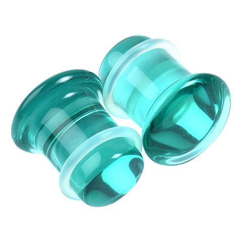 Single Flare Aqua Glass Plugs