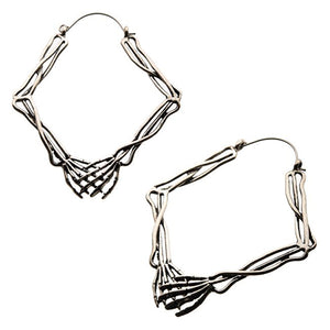 Skeleton Hands Tunnel Hoops