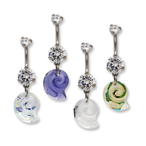 Titanium Swarovski Sea Snail Belly Dangle