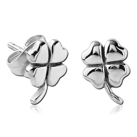 Stainless 4-Leaf Clover Earrings