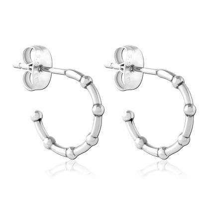 Stainless Bamboo Hoop Stud Earrings