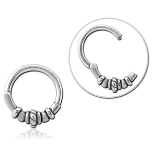 Stainless Bead & Rope Hinged Ring