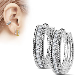Beaded CZ Hinged Hoop Earrings