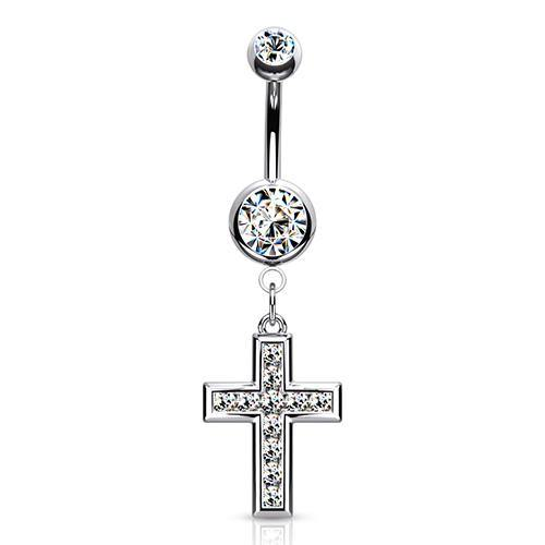 Stainless CZ Cross Belly Dangle