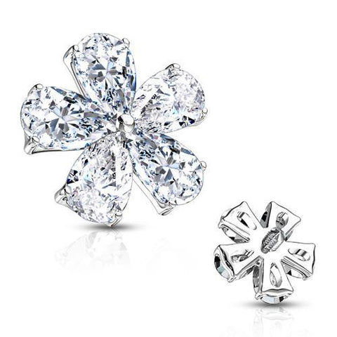 Stainless CZ Flower