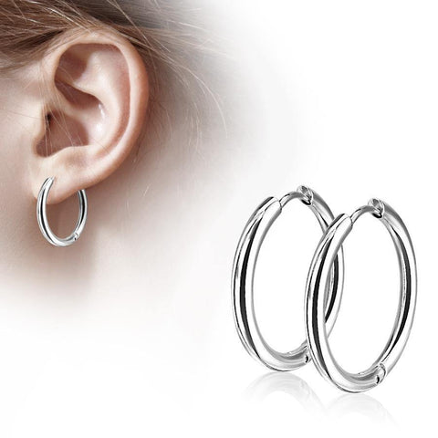 Stainless Clicker Hoop Earrings