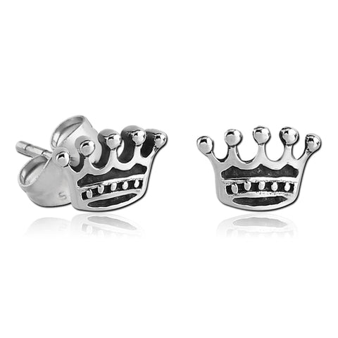 Stainless Crown Earrings
