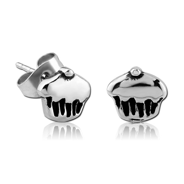 Stainless Cupcake Earrings