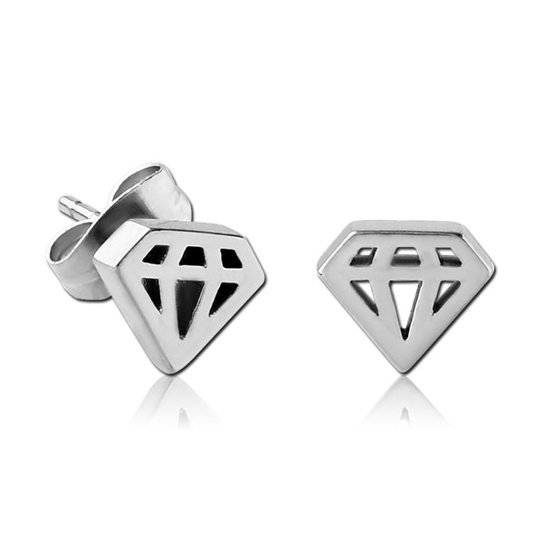 Stainless Cutout Diamond Earrings