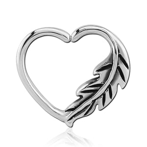 Stainless Feather Heart Ring