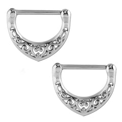 Stainless Filigree Heart Nipple Clickers