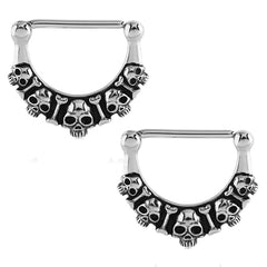 Stainless Skull Nipple Clickers