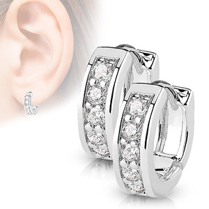 Half Circle CZ Hinged Hoop Earrings