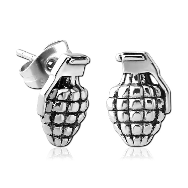 Stainless Hand Grenade Earrings