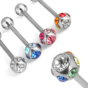 Stainless Multi-CZ Tongue Barbell