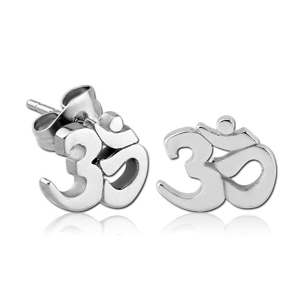 Stainless Om Earrings
