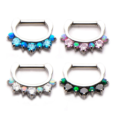 Mixed Opal & CZ Crown Septum Clicker