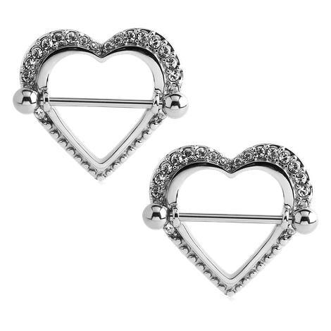 Stainless Paved Heart Nipple Shields