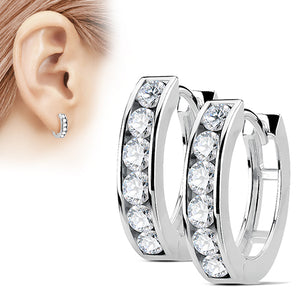 CZ Paved Hinged Hoop Earrings