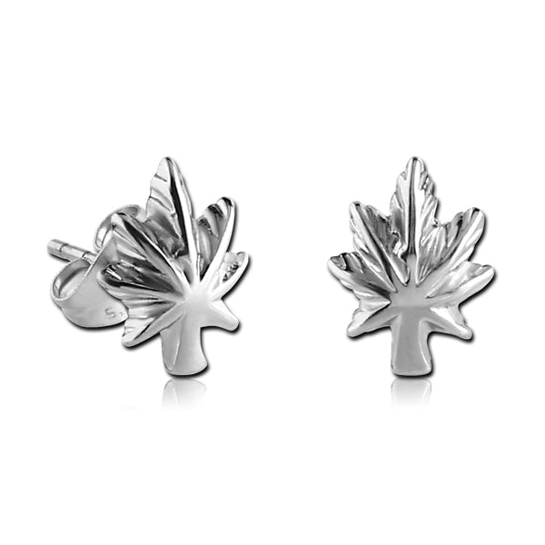 Stainless Pot Leaf Earrings
